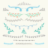 Hand Drawn Christmas ornamental borders Royalty Free Stock Image
