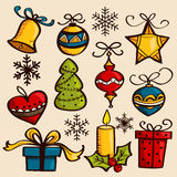 Hand drawn Christmas ornaments. Vector illustration Royalty Free Stock Photo