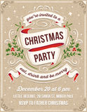 Hand Drawn Christmas Party Invitation with White Ribbons vector illustration