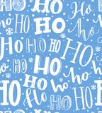 Hand drawn Christmas pattern. Seamless background with text hohoho. Gift wrapping blue and white paper. Royalty Free Stock Photos