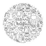 Hand drawn christmas pattern Royalty Free Stock Photo