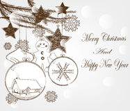 Hand drawn christmas postcard Stock Photography