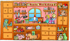Hand drawn christmas santa workshop. stock illustration