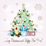 Hand drawn christmas scene. Christmas scene drawns in vintage style Royalty Free Stock Photo