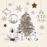 Hand drawn christmas scene. Artistic hand drawn christmas scene with big fir and christmas elements Royalty Free Stock Photography