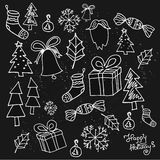 Hand drawn Christmas seamless pattern with Christmas decoration.Unique hand drawn texture. Holiday background for web page. Gift w Royalty Free Stock Photo
