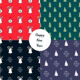 Hand drawn Christmas seamless pattern with Christmas decoration.Unique hand drawn texture. Holiday background for web page. Gift w Royalty Free Stock Photos