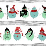 Christmas Seamless Pattern Of Snowmans. Hand drawn Christmas seamless pattern with funny snowmans in hats and scarfs Stock Photos