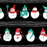 Christmas Seamless Pattern Of Snowmans. Stock Images