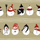 Christmas Seamless Pattern Of Snowmans. Royalty Free Stock Photography