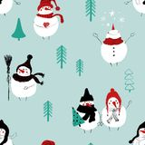 Christmas Seamless Pattern Of Snowmans. Stock Photo