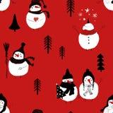 Christmas Seamless Pattern Of Snowmans. Stock Photos