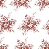 Hand-drawn Christmas seamless pattern with holly sketch. Vector style illustration for new year. royalty free stock photography