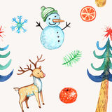 Hand drawn christmas seamless pattern. Hand drawn watercolor christmas seamless pattern Royalty Free Stock Images