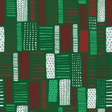 Hand drawn Christmas Seamless vector abstract background. Vertical rectangle doodle shapes seamless pattern. Green red white bloc. Christmas Seamless vector royalty free illustration