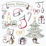 Hand Drawn Christmas Set Stock Photo