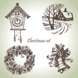 Hand drawn christmas set Royalty Free Stock Photos