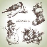 Hand drawn christmas set. Vintage illustrations Stock Photos