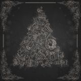 Hand Drawn Christmas Set. Royalty Free Stock Image