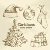 Hand drawn christmas set Royalty Free Stock Photo