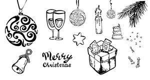 Hand-Drawn Christmas Sketchy Doodles- Vector Illustration Design Elements.set ,candle,glasses, fireworks,star,bell, tree royalty free illustration