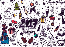 Hand-Drawn Christmas Sketchy Notebook Doodles- Vector Illustration  Royalty Free Stock Images