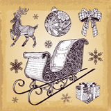Hand drawn Christmas sleight decoration doodles Stock Photography