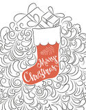 Hand drawn Christmas sock and ornament Royalty Free Stock Photos