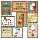 Hand drawn Christmas stamps collection B Stock Photography