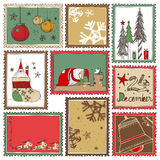 Hand drawn Christmas stamps collection A Stock Photo