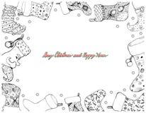 Hand Drawn of Christmas Stockings Frame on White Background vector illustration