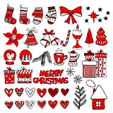 Hand-drawn Christmas toys, elements and decorations for winter and holiday illustrations.  vector illustration