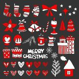 Hand-drawn Christmas toys, elements and decorations for winter and holiday illustrations.  royalty free illustration