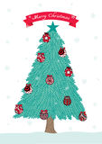 Hand drawn Christmas tree and balls with red ribbon for Christmas card,background Stock Images
