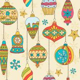 Hand drawn Christmas tree balls. Seamless pattern Stock Photography
