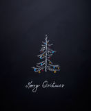 Hand drawn Christmas tree with baubles Stock Images