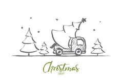 Hand drawn Christmas tree in car with lettering Stock Photography