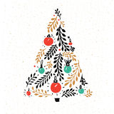 Hand drawn Christmas tree decorated with red and green balls. Greeting card vector design. Stock Photography