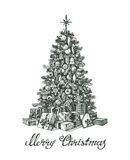 Hand drawn Christmas tree and gifts. Vector illustration Royalty Free Stock Images