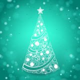 Hand Drawn Christmas Tree on Green Sparkling Background Royalty Free Stock Image