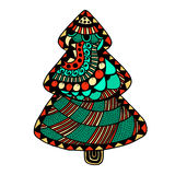 Hand drawn Christmas tree. Happy new year and merry christmas card. Colored Christmas tree in zentangle style for adult anti stress. isolated on white background Royalty Free Stock Photos