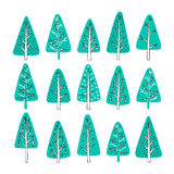 Hand drawn Christmas tree icons. Doodles and sketches Royalty Free Stock Photos