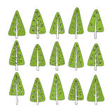 Hand drawn Christmas tree icons. Doodles and sketches Stock Photos