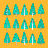 Hand drawn Christmas tree icons. Doodles and sketches Stock Photo