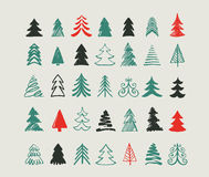 Hand drawn Christmas tree icons and elements Stock Images