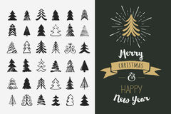 Hand drawn Christmas tree icons and elements vector illustration