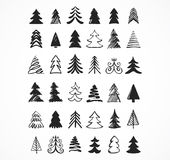 Hand drawn Christmas tree icons and elements Royalty Free Stock Image