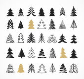 Hand drawn Christmas tree icons and elements Royalty Free Stock Images