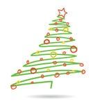 Hand drawn christmas tree isolated on white background,. Illustration Royalty Free Stock Photo