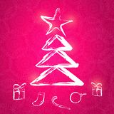 Hand Drawn Christmas Tree on Purple Background Royalty Free Stock Photos